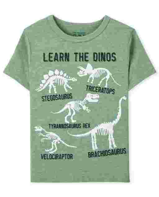 Baby And Toddler Boys Short Sleeve Learn Dinos Graphic Tee