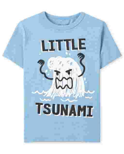 Camiseta con gráfico de tsunami de manga corta para bebés y niños pequeños
