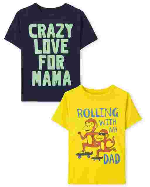 Toddler Boys Short Sleeve Family Graphic Tee 2-Pack