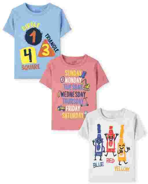 Paquete de 3 camisetas estampadas educativas de manga corta para niños pequeños