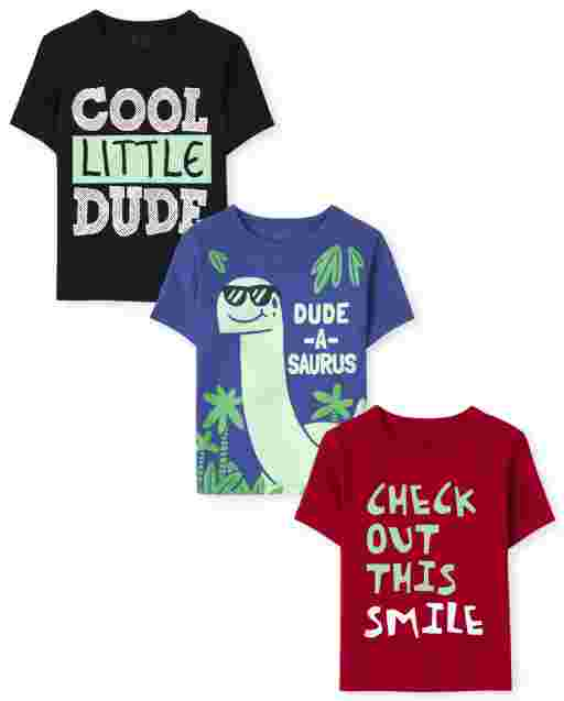 Toddler Boys Short Sleeve Cute Dino Graphic Tee 3-Pack