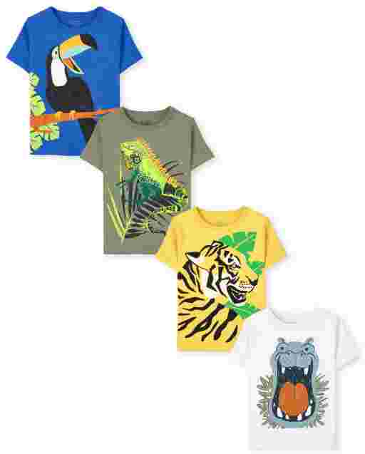 Toddler Boys Short Sleeve Animals Graphic Tee 4-Pack
