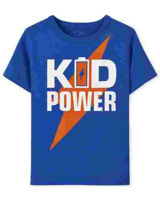 Camiseta estampada Kid Power ' manga corta para bebés y niños pequeños '