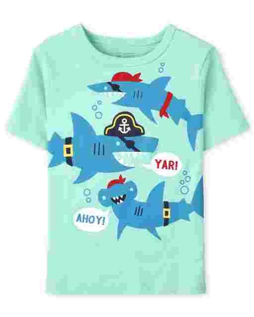 Camiseta estampada de tiburones pirata de manga corta para bebés y niños pequeños