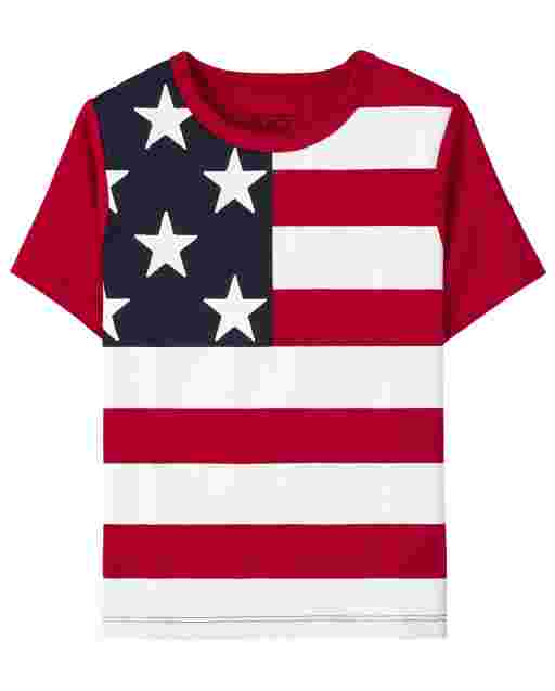 Camiseta estampada americana de manga corta para bebés y niños pequeños