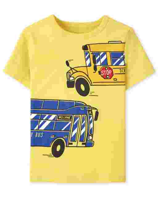 Baby And Toddler Boys Short Sleeve Bus Graphic Tee