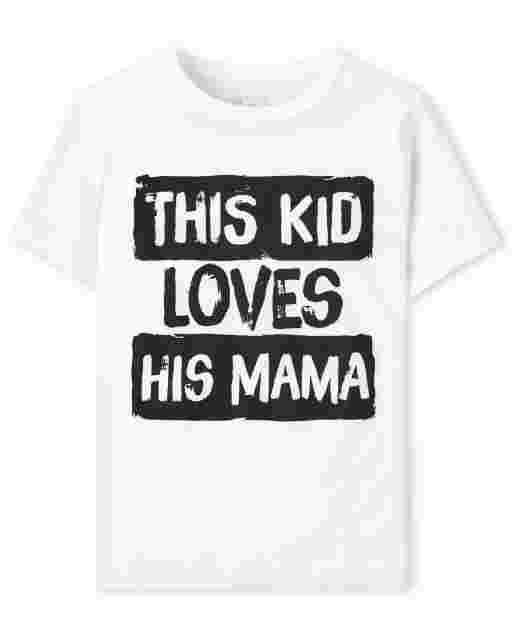 Camiseta de manga corta para bebés y niños pequeños ' This Kid Loves His Mama ' Camiseta estampada