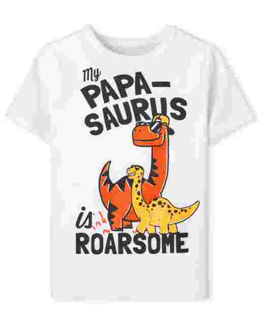 Baby And Toddler Boys Short Sleeve 'My Papa-Saurus Is Roarsome' Graphic Tee
