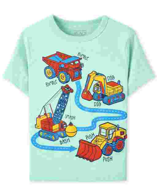 Baby And Toddler Boys Short Sleeve Construction Trucks Graphic Tee