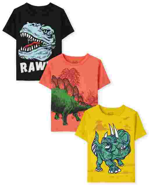 Toddler Boys Short Sleeve Dino Graphic Tee 3-Pack