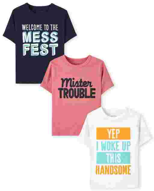 Toddler Boys Short Sleeve Humor Graphic Tee 3-Pack