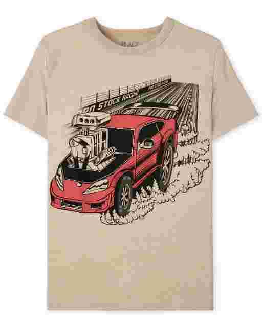 Boys Short Sleeve Car Graphic Tee