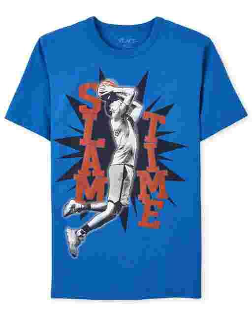Boys Short Sleeve 'Slam Time' Basketball Graphic Tee