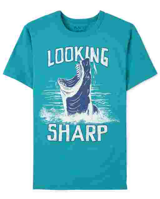 Boys Short Sleeve 'Looking Sharp' Shark Graphic Tee
