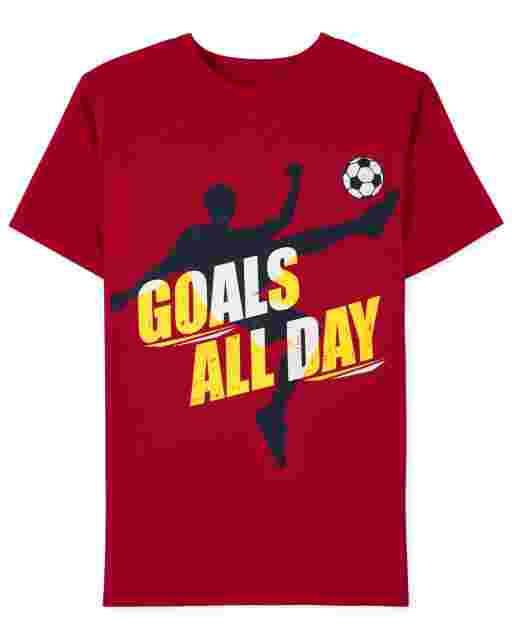 Boys Short Sleeve Goals All Day Soccer Graphic Tee