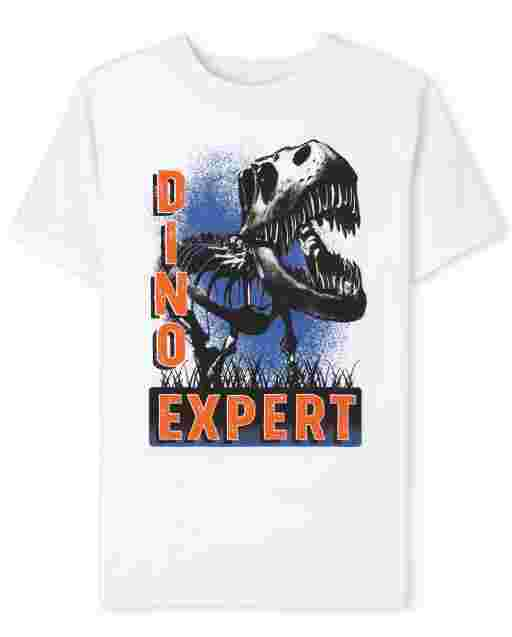 Boys Short Sleeve Dino Expert Graphic Tee
