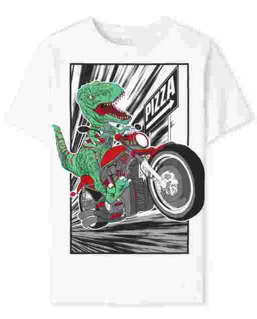 Boys Short Sleeve Dino Biker Graphic Tee