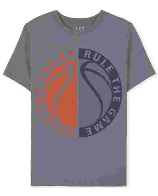 Boys Short Sleeve 'Rule The Court Rule The Game' Basketball Graphic Tee