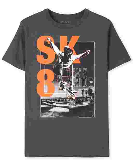 Boys Short Sleeve Sk8 Graphic Tee