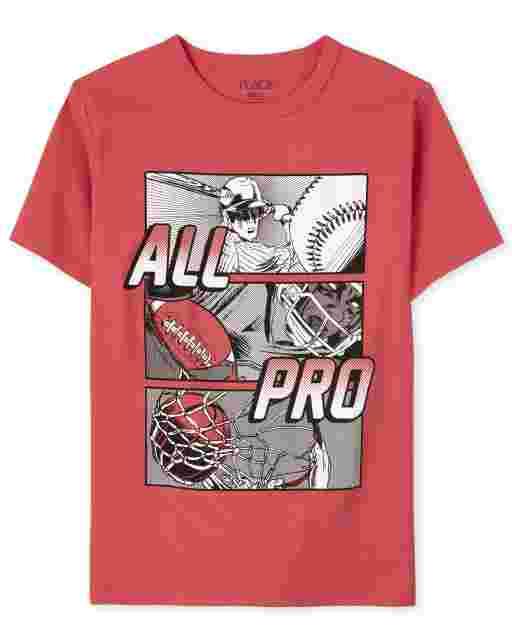 Camiseta con estampado deportivo ' All Pro ' manga corta para niños