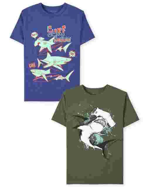 Boys Short Sleeve Shark Graphic Tee 2-Pack