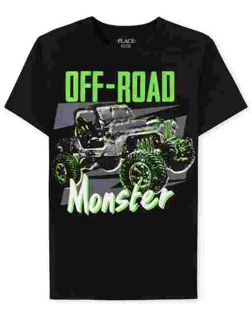Boys Short Sleeve 'Off-Road Monster' Monster Truck Graphic Tee