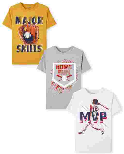 Boys Short Sleeve Baseball Graphic Tee 3-Pack