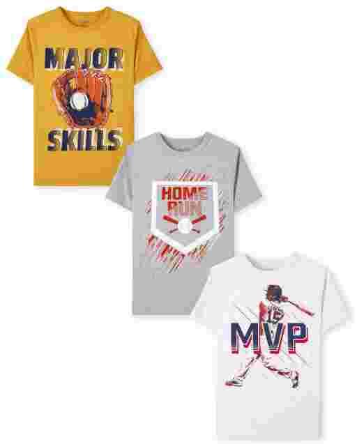 Boys Short Sleeve Baseball Graphic Tee 3-Pack