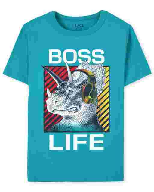 Boys Short Sleeve 'Boss Life' Dino Graphic Tee