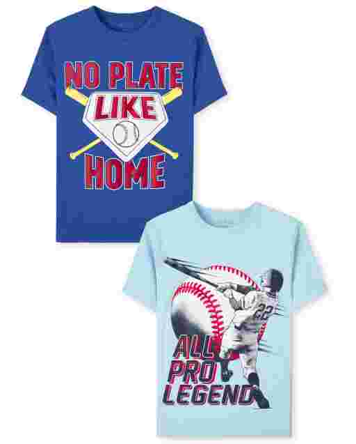Boys Short Sleeve Baseball Graphic Tee 2-Pack