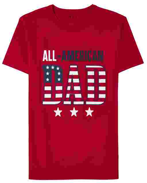 Camiseta con estampado de papá americano americano de manga corta a juego para hombre