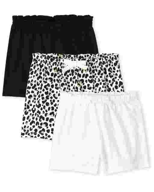 Baby Girls Leopard Print And Solid Knit Paper Bag Waist Shorts 3-Pack