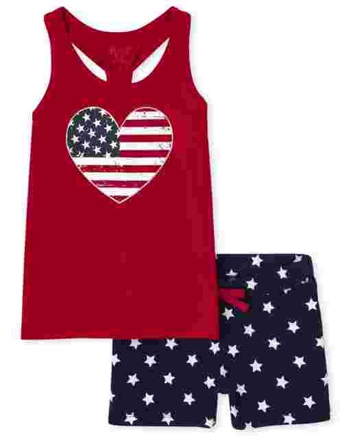 Conjunto de 2 piezas de camiseta sin mangas con estampado de corazón y camiseta sin mangas con estampado de estrellas para niñas Americana