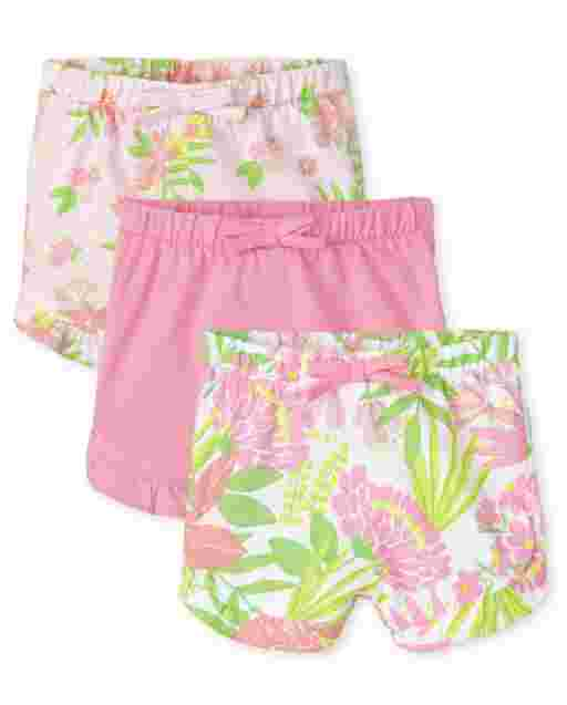 Baby Girls Tropical Print And Solid Knit Ruffle Shorts 3-Pack