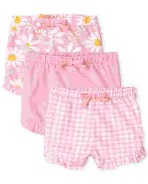 Baby Girls Daisy Gingham And Solid Knit Ruffle Shorts 3-Pack