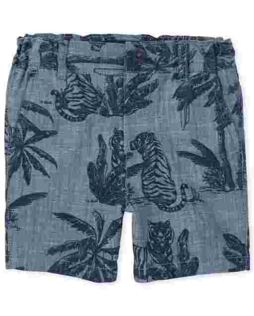 Baby And Toddler Boys Palm Tree Print Woven Chino Shorts