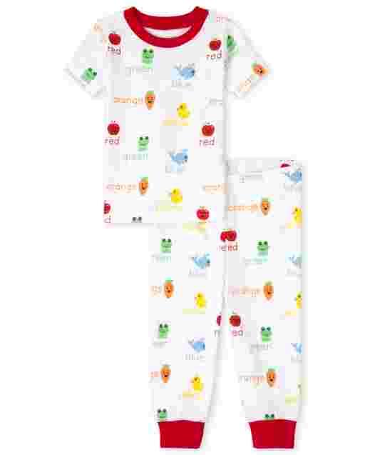Pijama de algodón unisex con ajuste ceñido y manga corta para bebés y niños pequeños