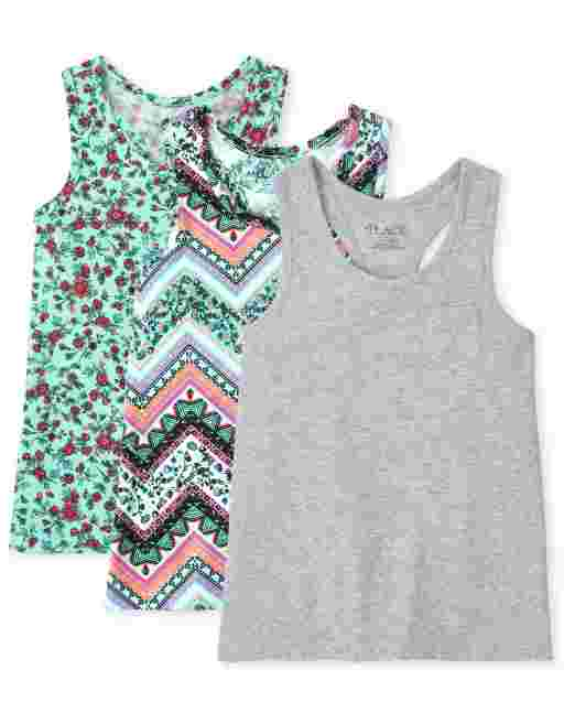 Girls Sleeveless Print And Solid Racerback Tank Top 3-Pack