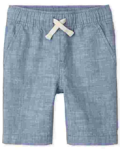 Boys Chambray Pull On Jogger Shorts