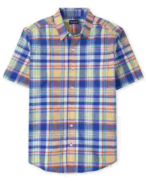 Camisa con botones a juego de popelina a cuadros de manga corta Dad And Me para hombre