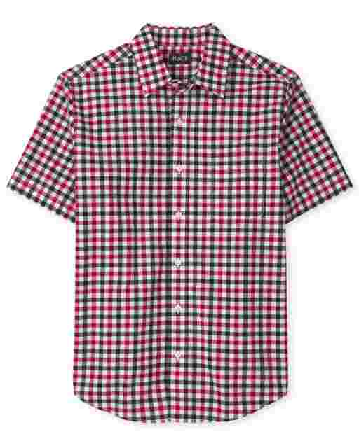 Mens Dad And Me Americana Short Sleeve Gingham Poplin Matching Button Down Shirt