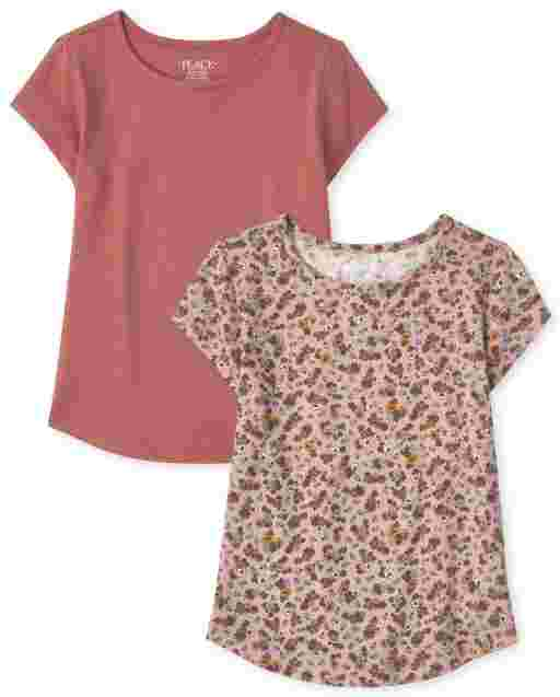 Girls Short Sleeve Print And Solid Curved Hem Top 2-Pack