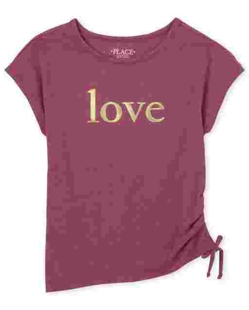 Girls Short Sleeve Graphic Side Tie Top