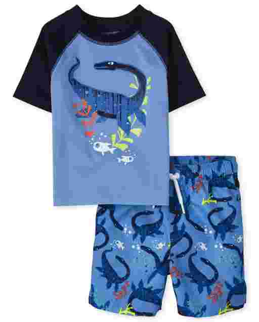Baby And Toddler Boys Short Raglan Sleeve Lochness Monster Graphic Rashguard And Lochness Monster Print Swim Trunks Swim Set