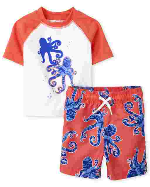 Baby And Toddler Boys Short Raglan Sleeve Octopus Graphic Rashguard And Octopus Print Swim Trunks Swim Set