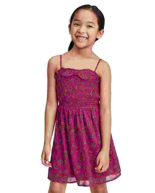 Girls Mommy And Me Sleeveless Floral Print Woven Matching Smocked Dress