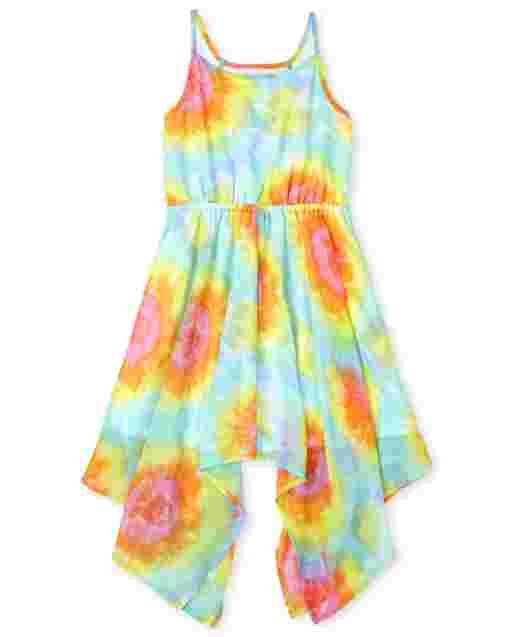 Girls Sleeveless Rainbow Tie Dye Woven Sharkbite Hem Dress