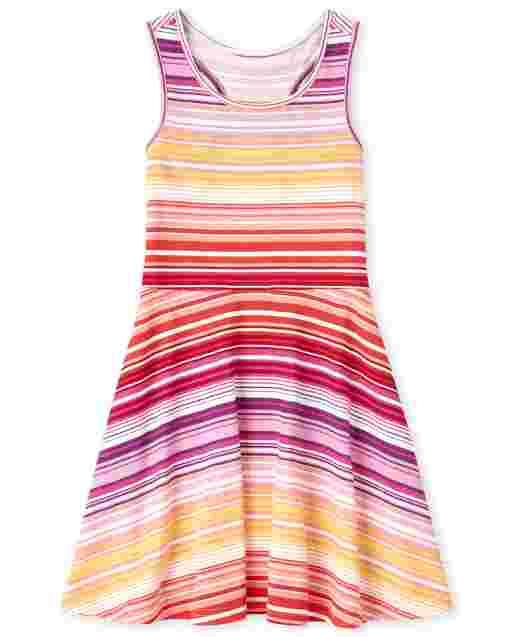 Girls Sleeveless Striped Knit Racerback Dress