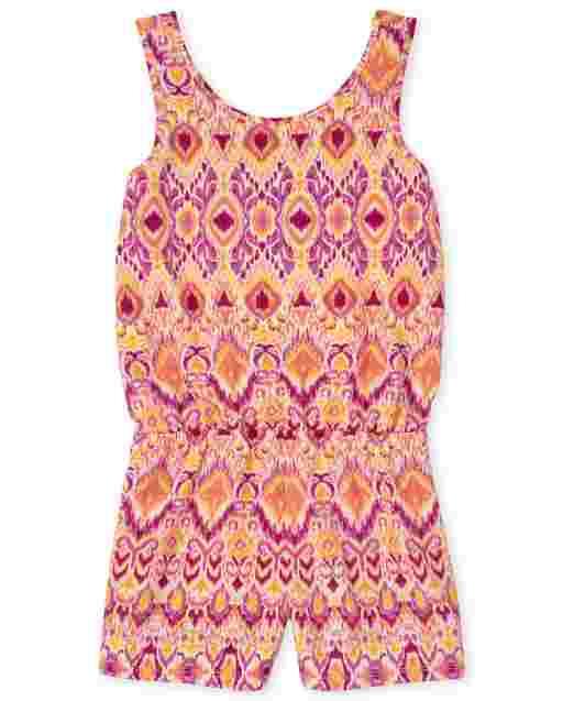 Girls Sleeveless Print Knit Cut Out Romper