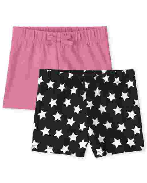 Pack de 2 pantalones cortos de punto lisos y con estampado de estrellas para niñas